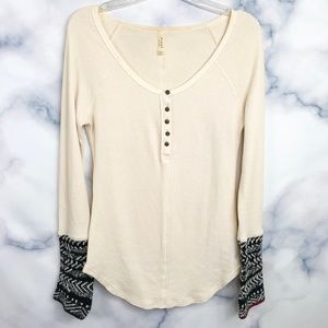Free People Thermal Cuff Printed Top